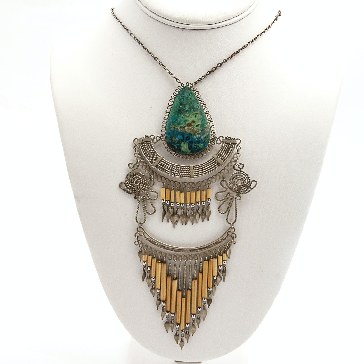 Egyptian Revival Necklace with Eilat Stone
