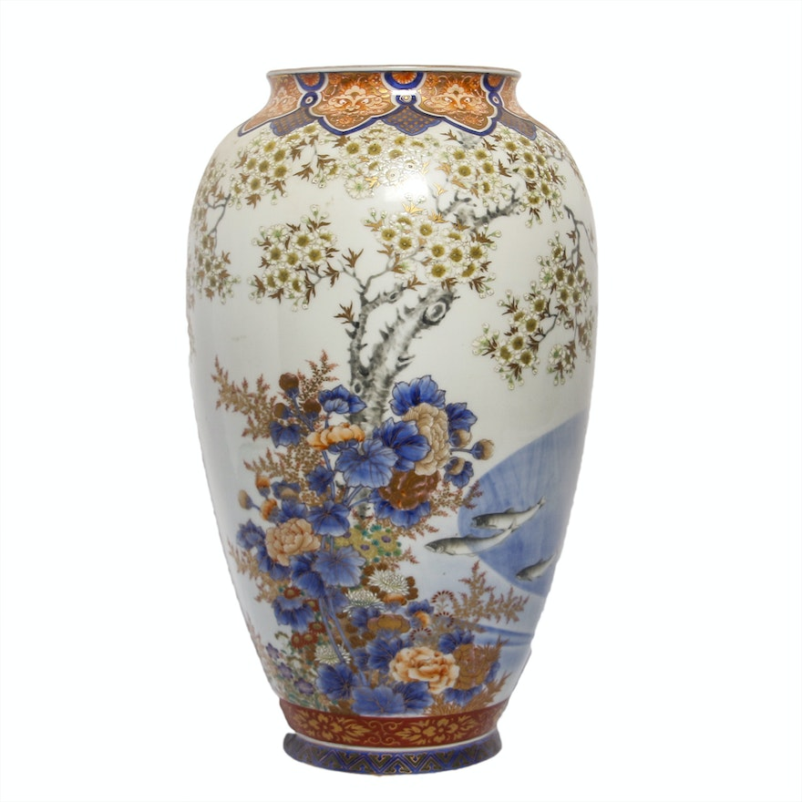 Antique Japanese Fukagawa Vase Ebth