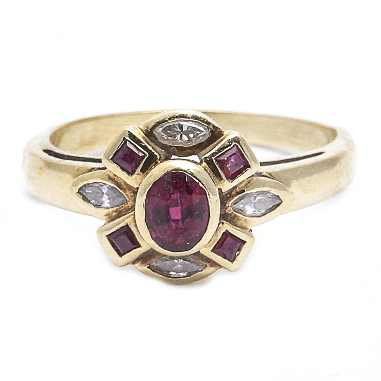 18K Gold Ruby, Diamond, and Tourmaline Ring