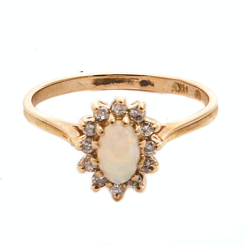 14K Plumb Gold Diamond and Opal Ring