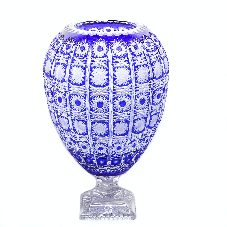 Bohemian Cut Glass Cobalt Blue Vase