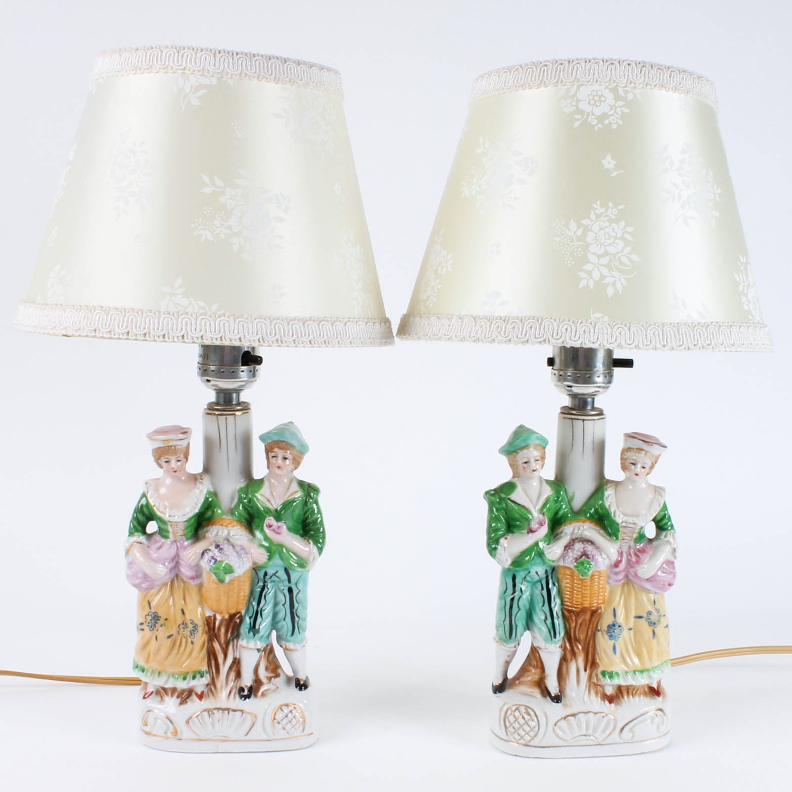 Pair Of Japanese Figurine Table Lamps
