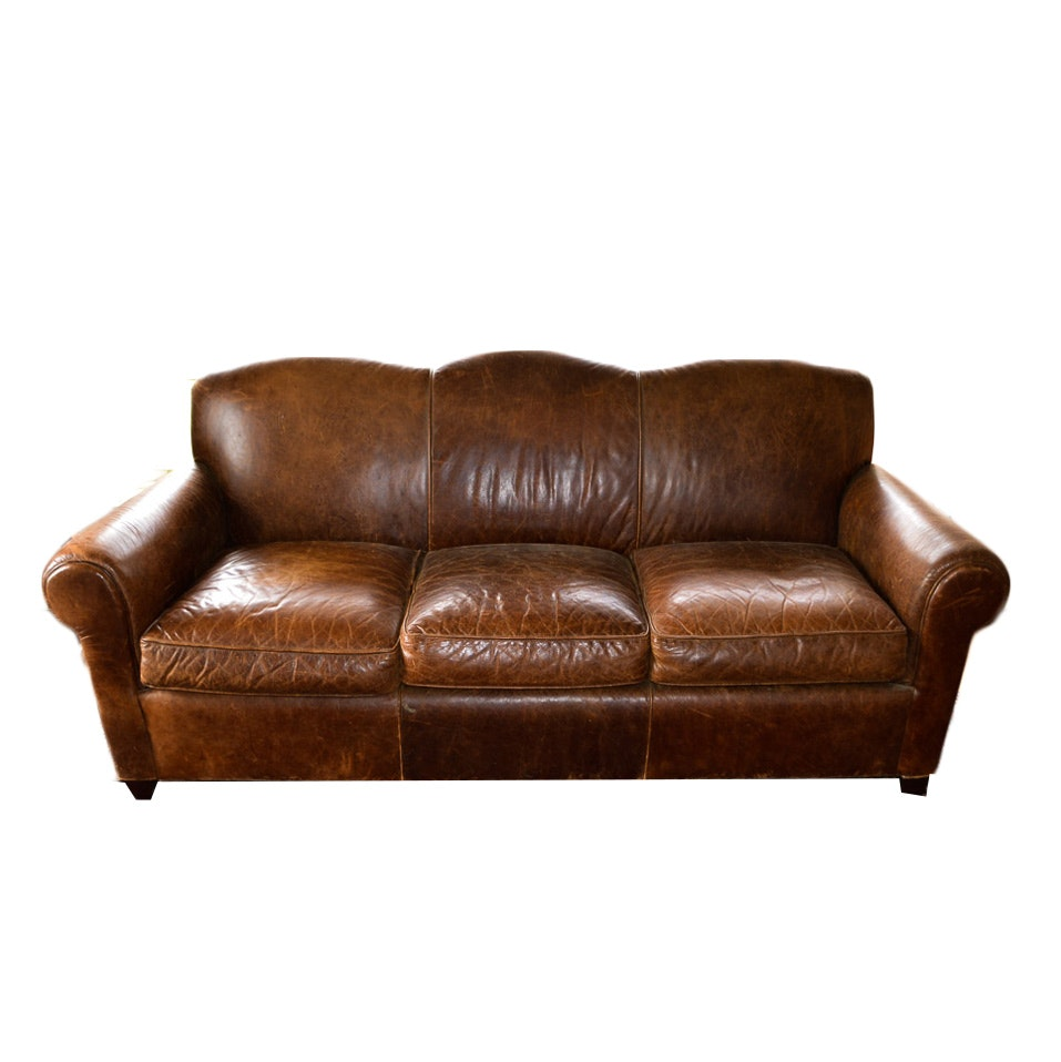 Brown Leather Sofa by Crate and Barrel