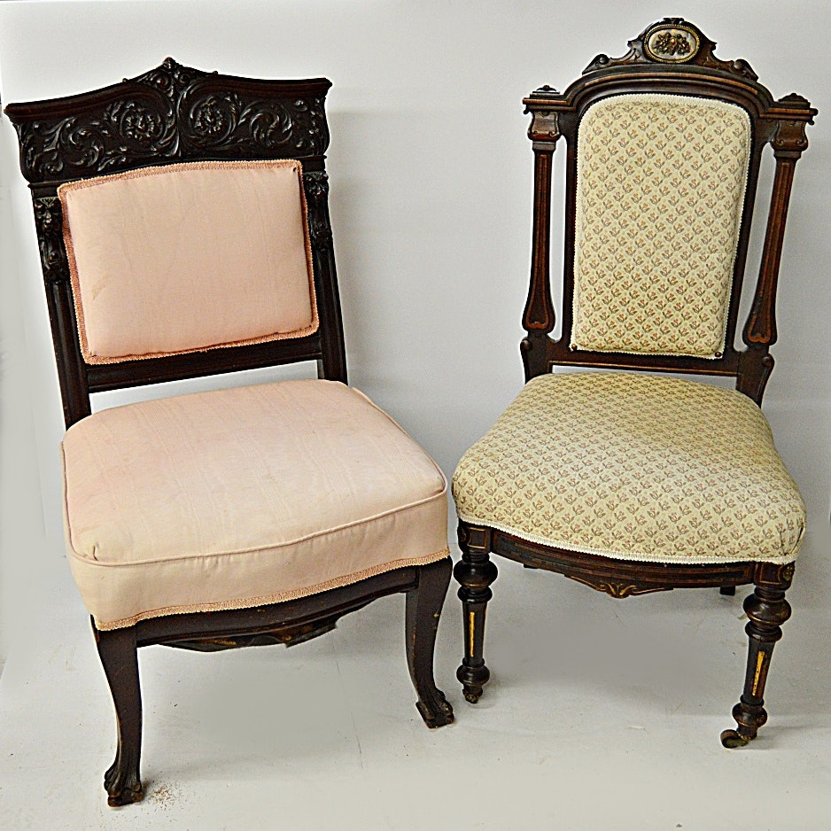 Elegant Two Antique Romanesque And Gothic Style Chairs ...