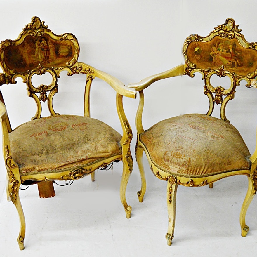 Antique French Style Salon Chairs ... - Antique French Style Salon Chairs : EBTH