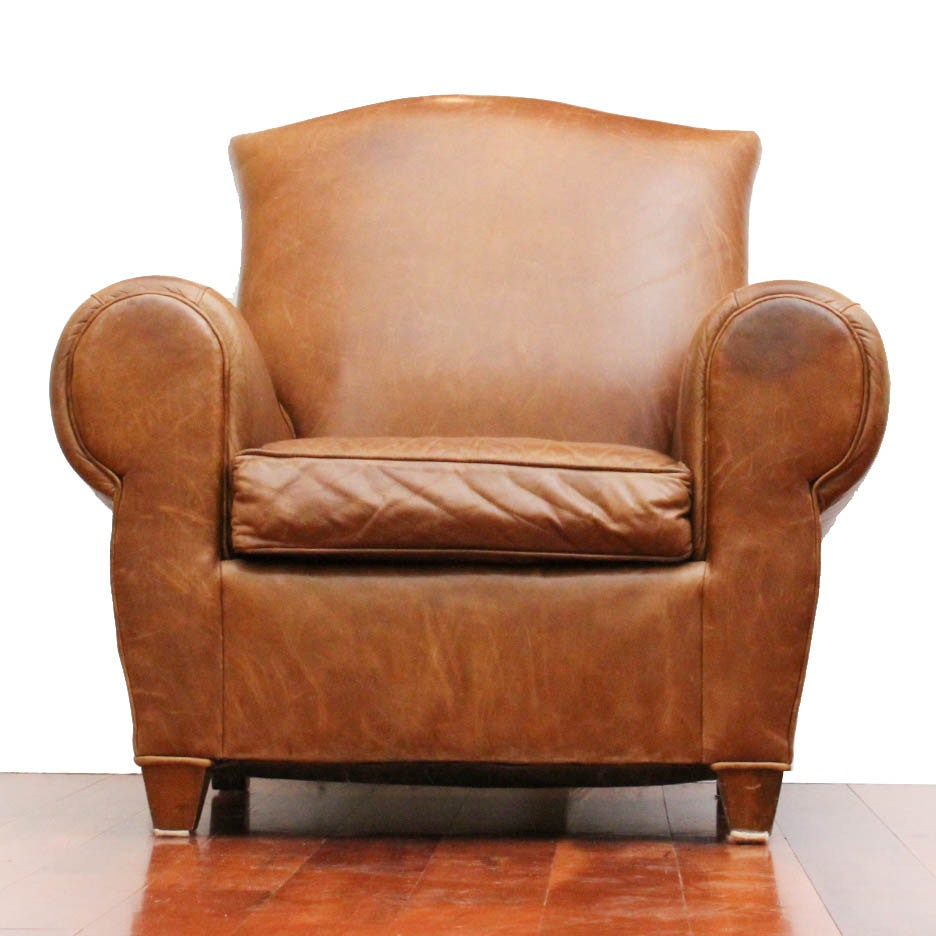 Superbe Mitchell Gold Leather Armchair For Restoration Hardware ...