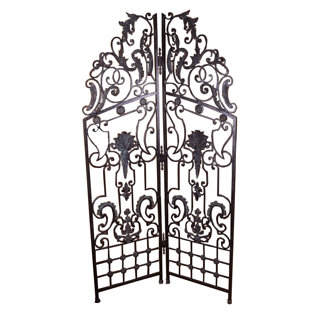 Scrolled Wrought Iron Two Panel Folding Screen