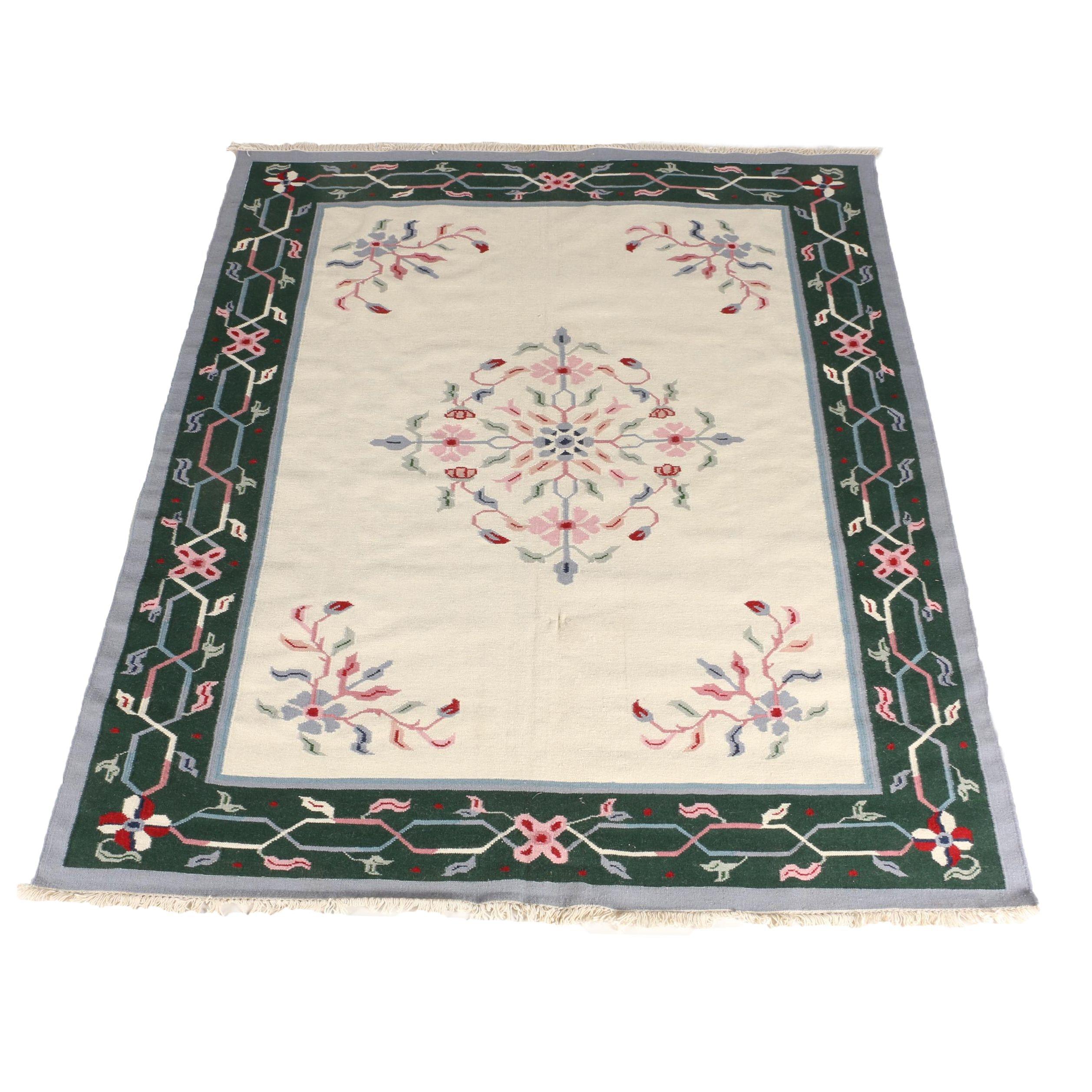 Handwoven Floral Wool Dhurrie