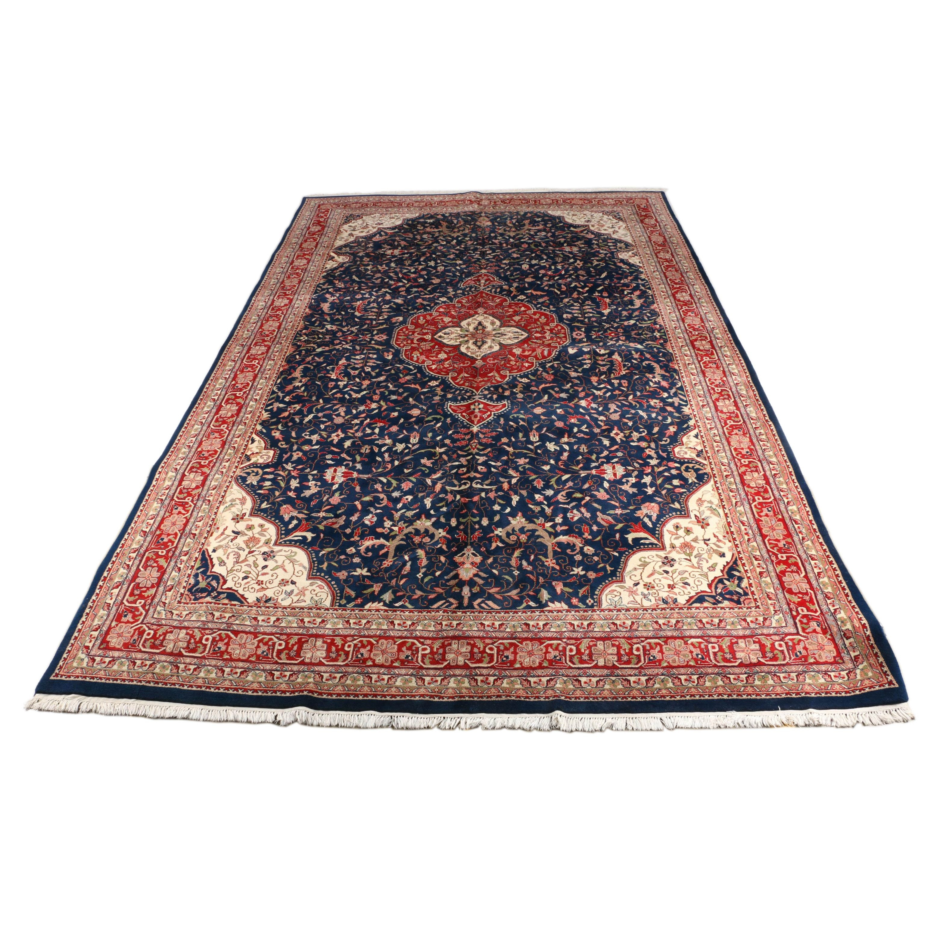 "Large Hand-Knotted Indo-Persian ""Kashan"" Area Rug"