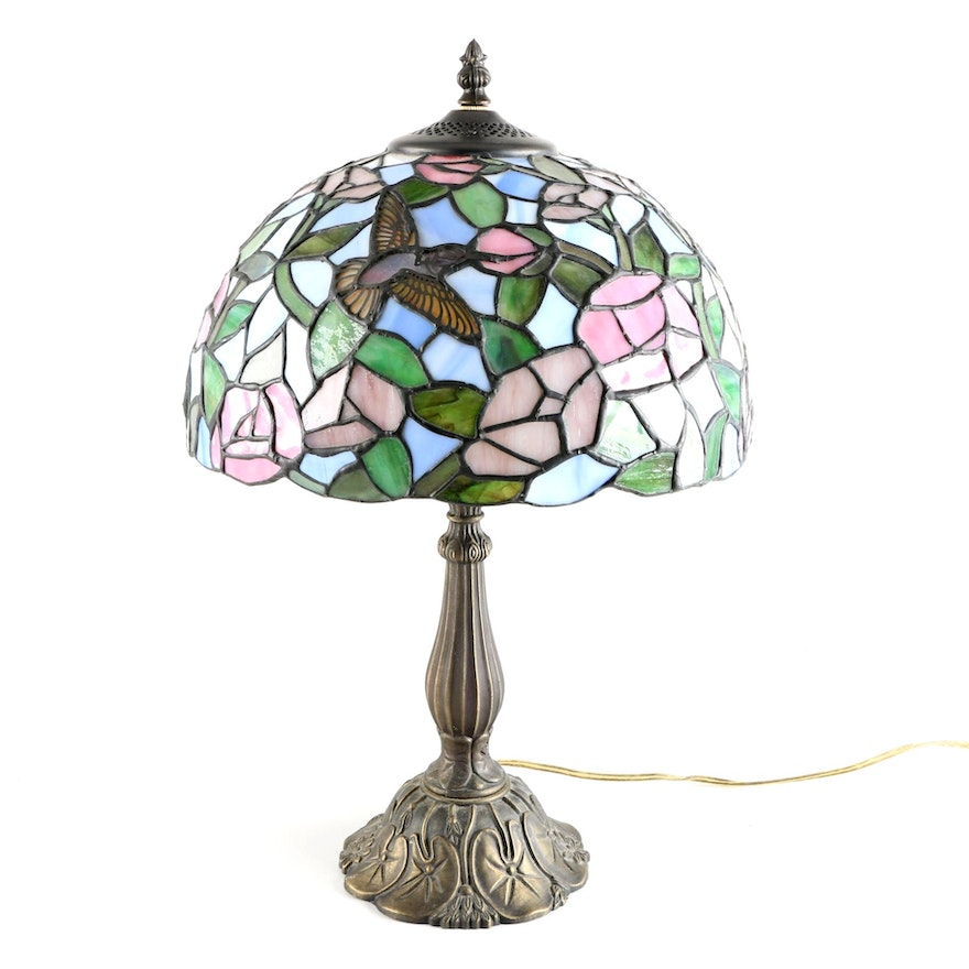 Tiffany Style Stained Gl Hummingbird Lamp