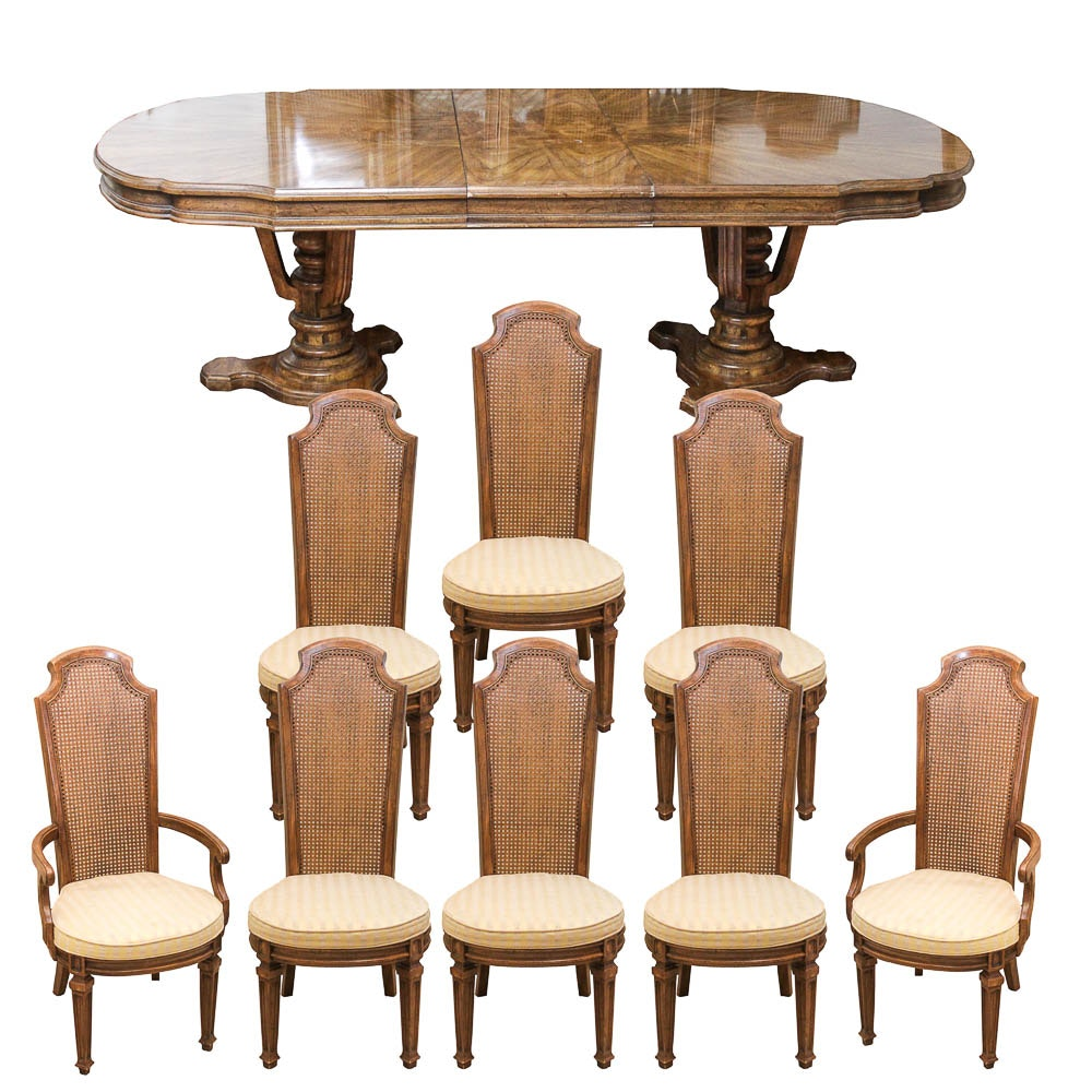 Double Pedestal Dining Table And Chairs By American Furniture Co.