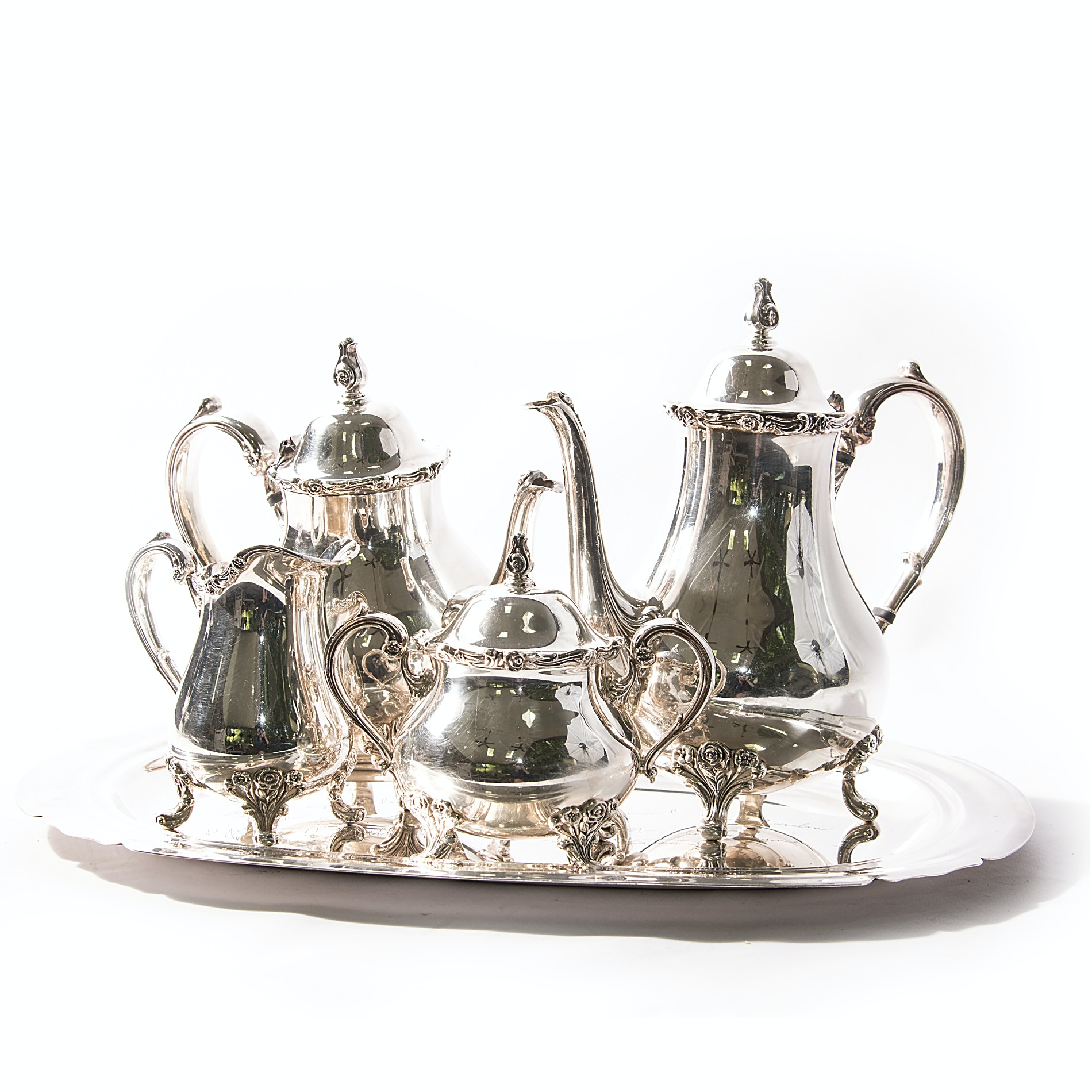 "Wilcox ""American Rose"" Silver Plate Tea Service and More"