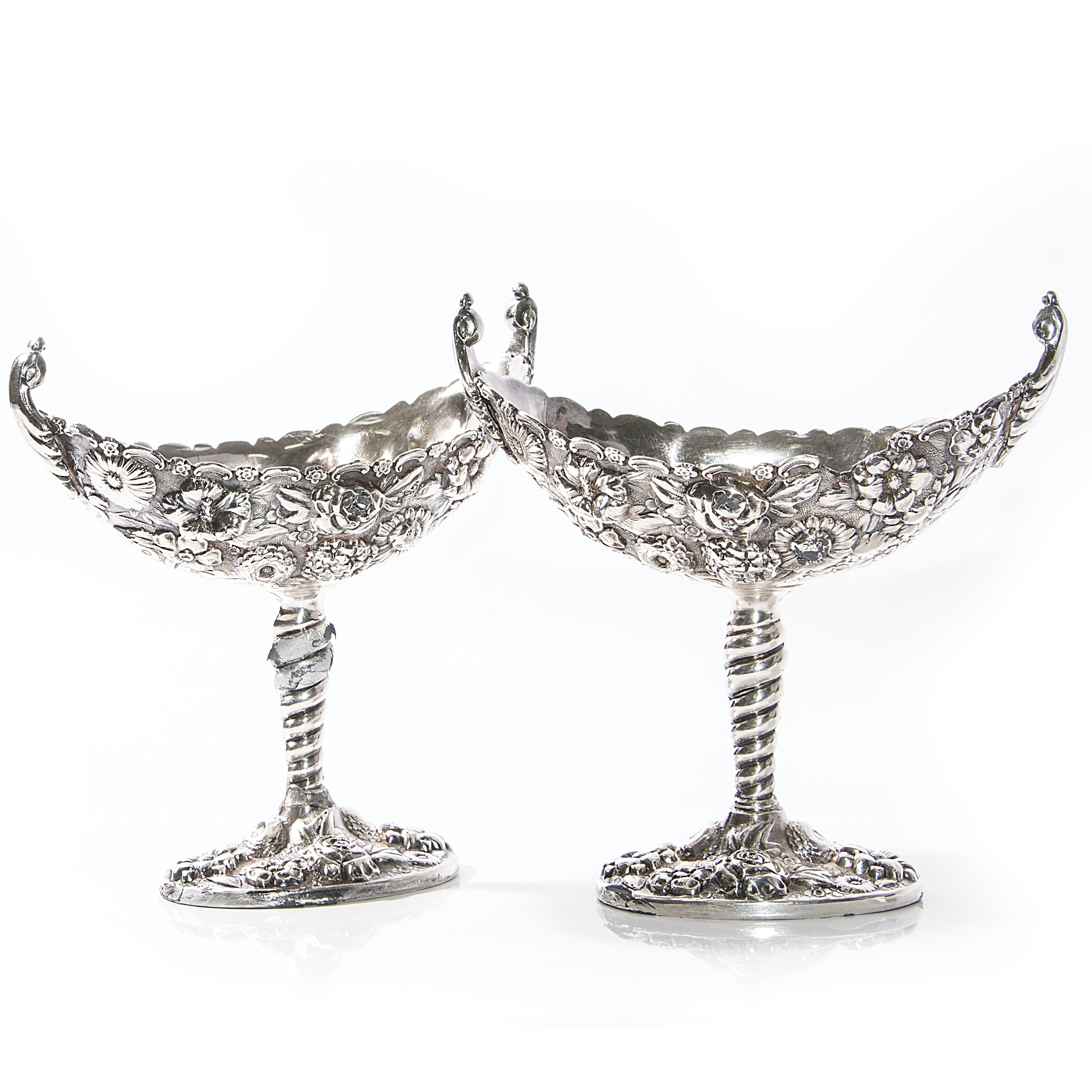 Pair of S. Kirk & Son Silver Plate Repoussé Candy Dishes