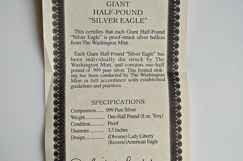 Giant Half Pound 999 Fine Quot Silver Eagle Quot Ebth
