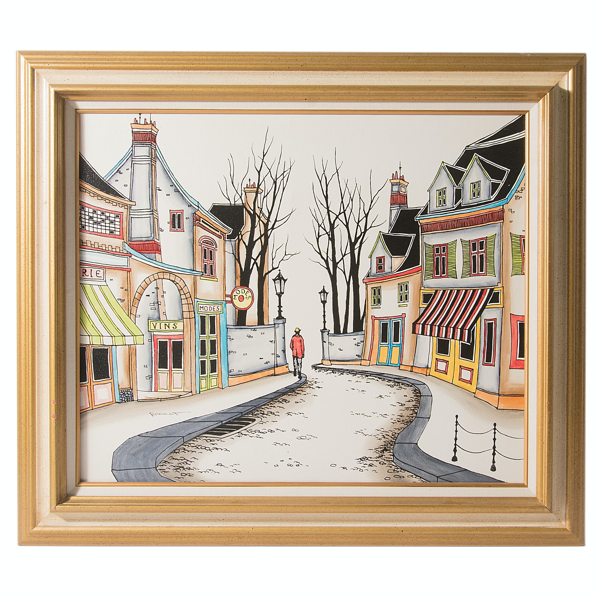 """Marcel Barrat Oil on Canvas """"Side Street"""""""