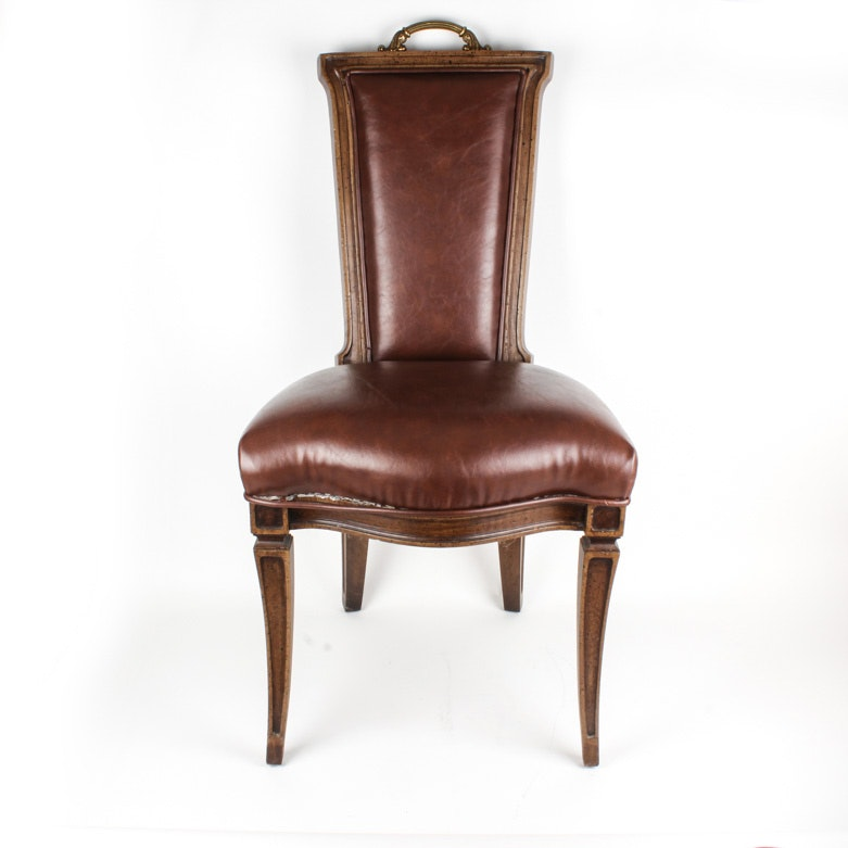 French Provincial Style Leather Accent Chair