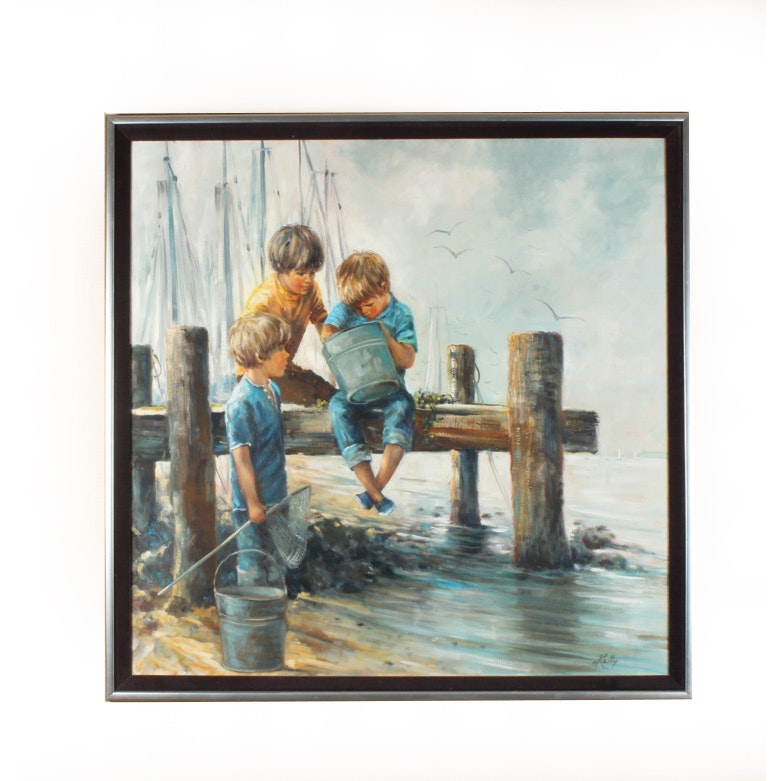 Oil on Canvas Painting of Boys at a Harbor