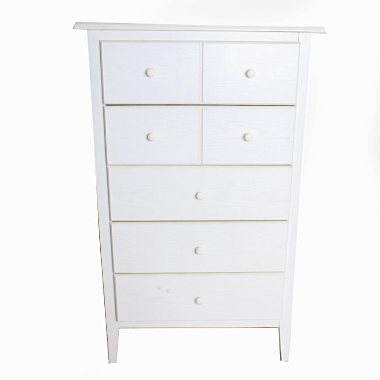 Contemporary White Five-Drawer Dresser