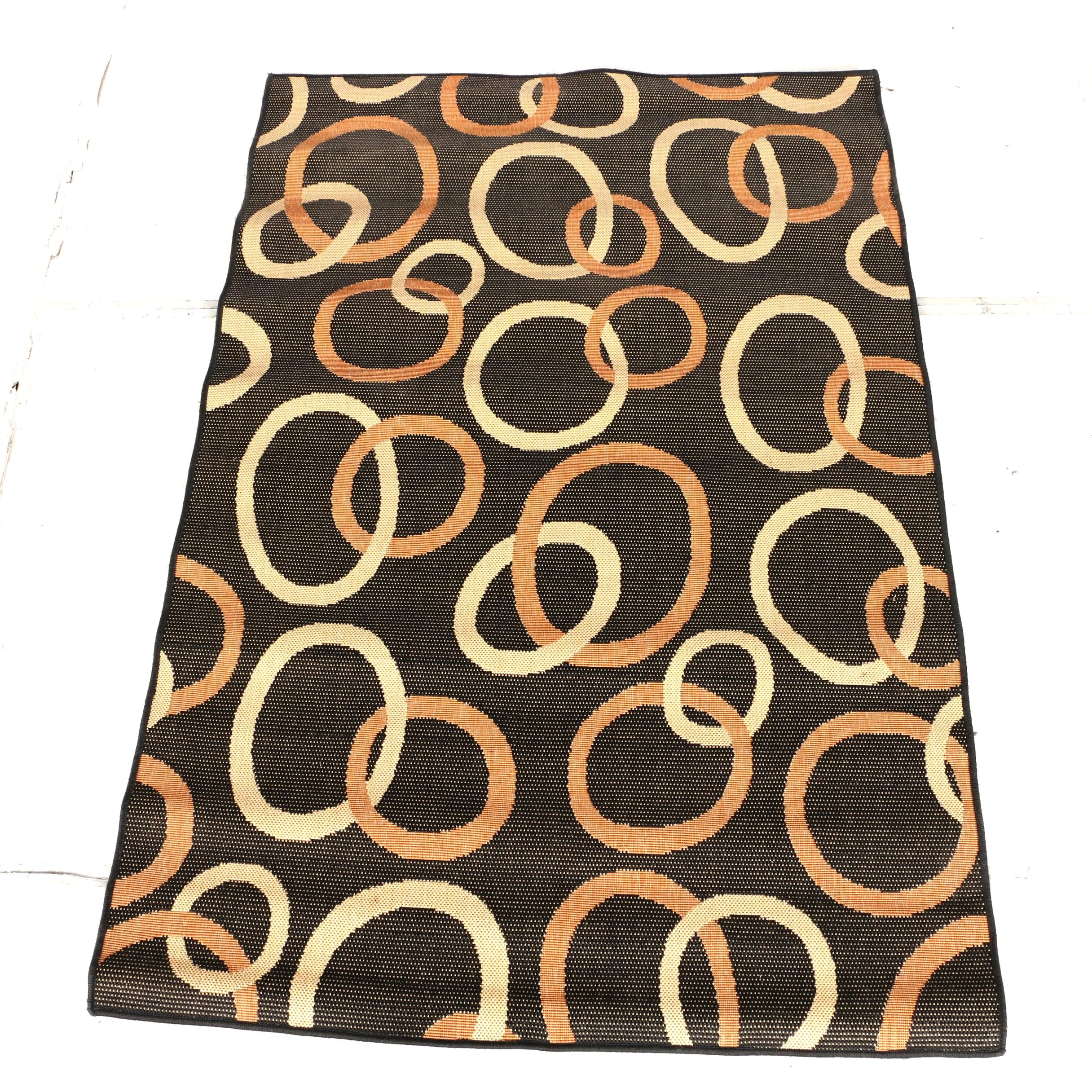Power-Loomed Contemporary Op Art Area Rug