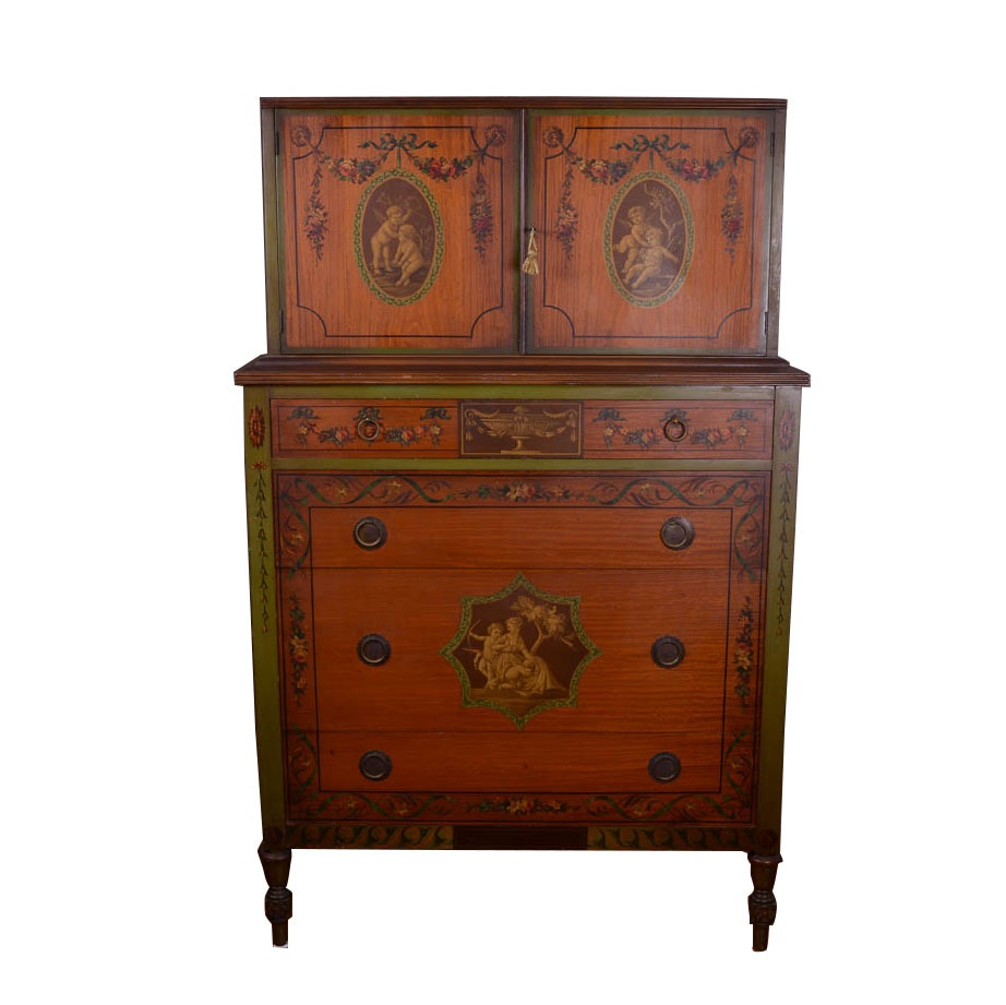 Johnson Furniture Company Handpainted Walnut Dresser ...