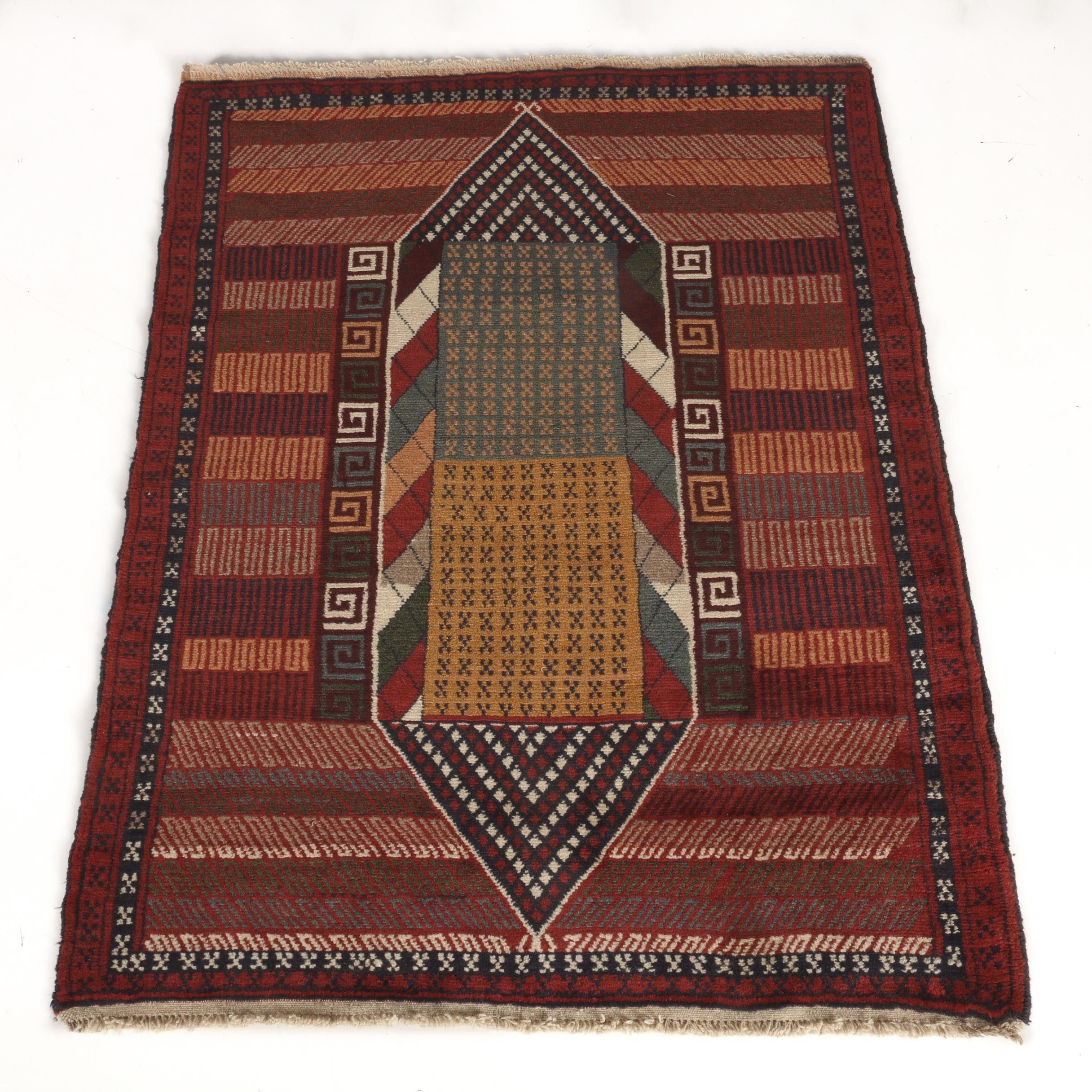Hand-Knotted Persian Kurdi Area Rug