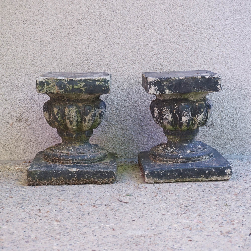Pair of Concrete Plant Stands