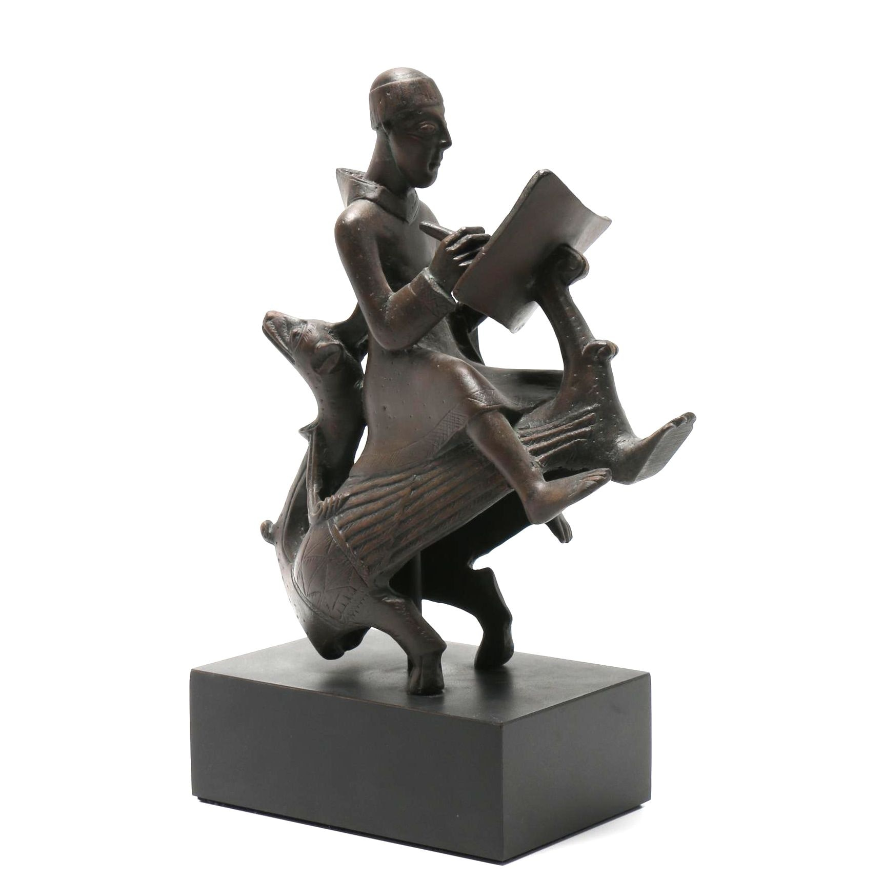Replica Statue of Monk-Scribe Riding a Wyvern