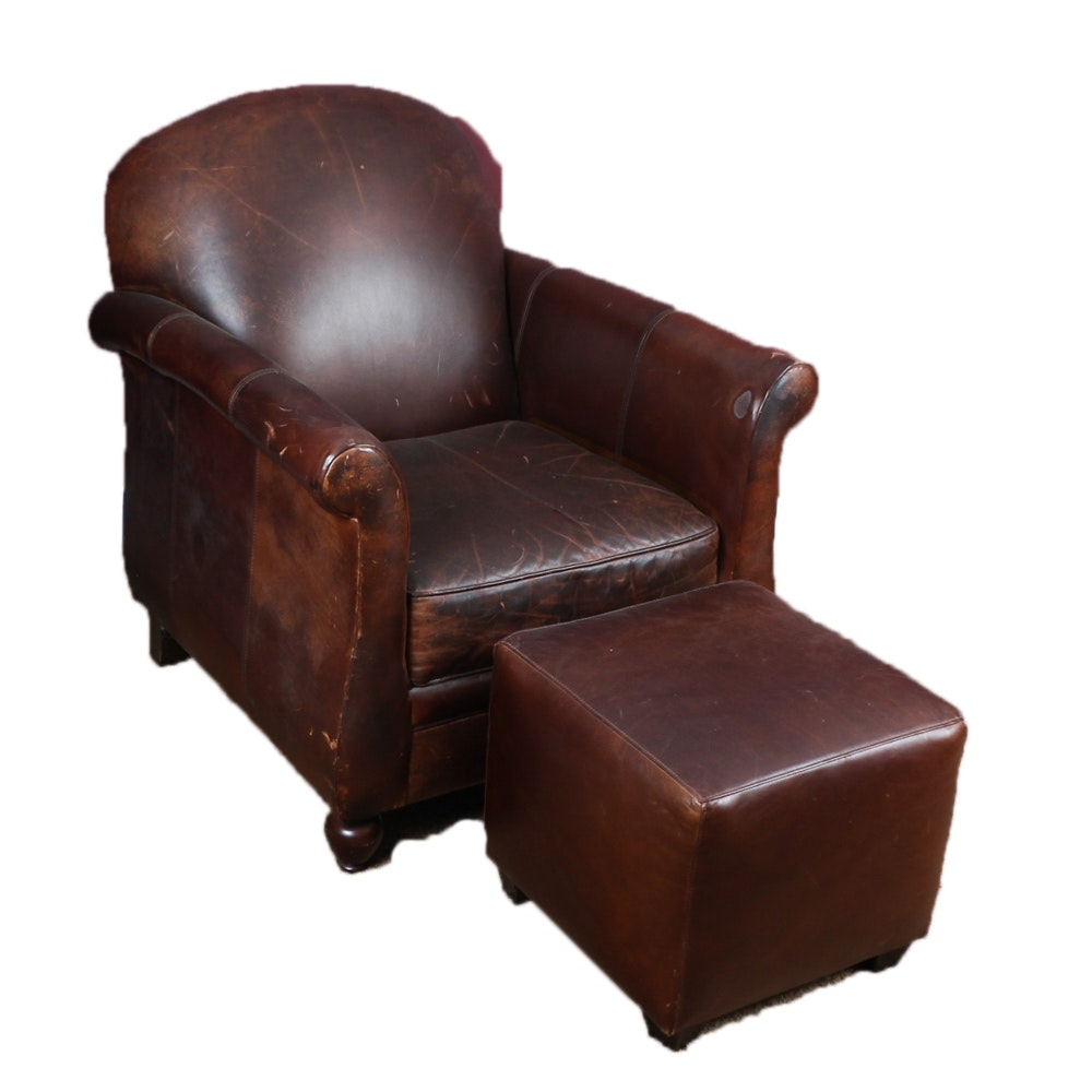 bernhardt leather club chair with ottoman : ebth