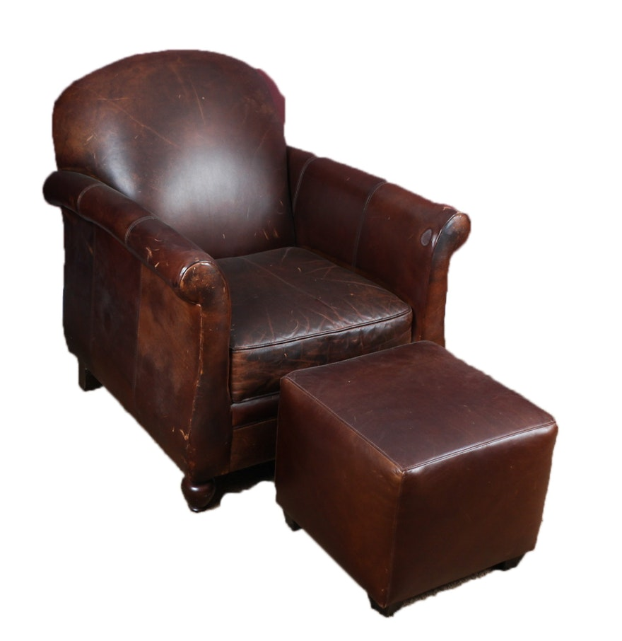 Wing chair bernhardt - Bernhardt Leather Club Chair With Ottoman