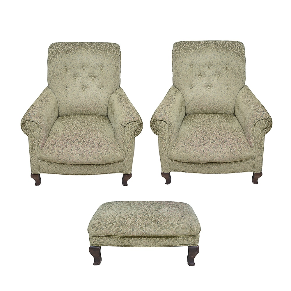 Two Green Upholstered Armchairs With Ottoman