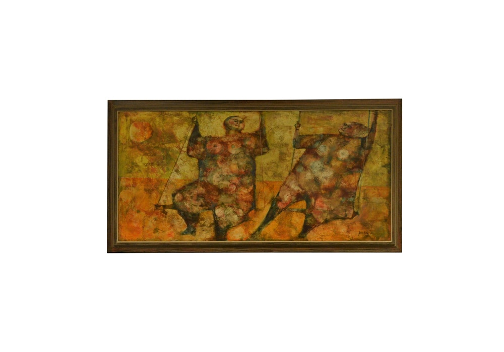 Joan Erbe Signed Oil on Canvas Painting Titled 'The Swing""