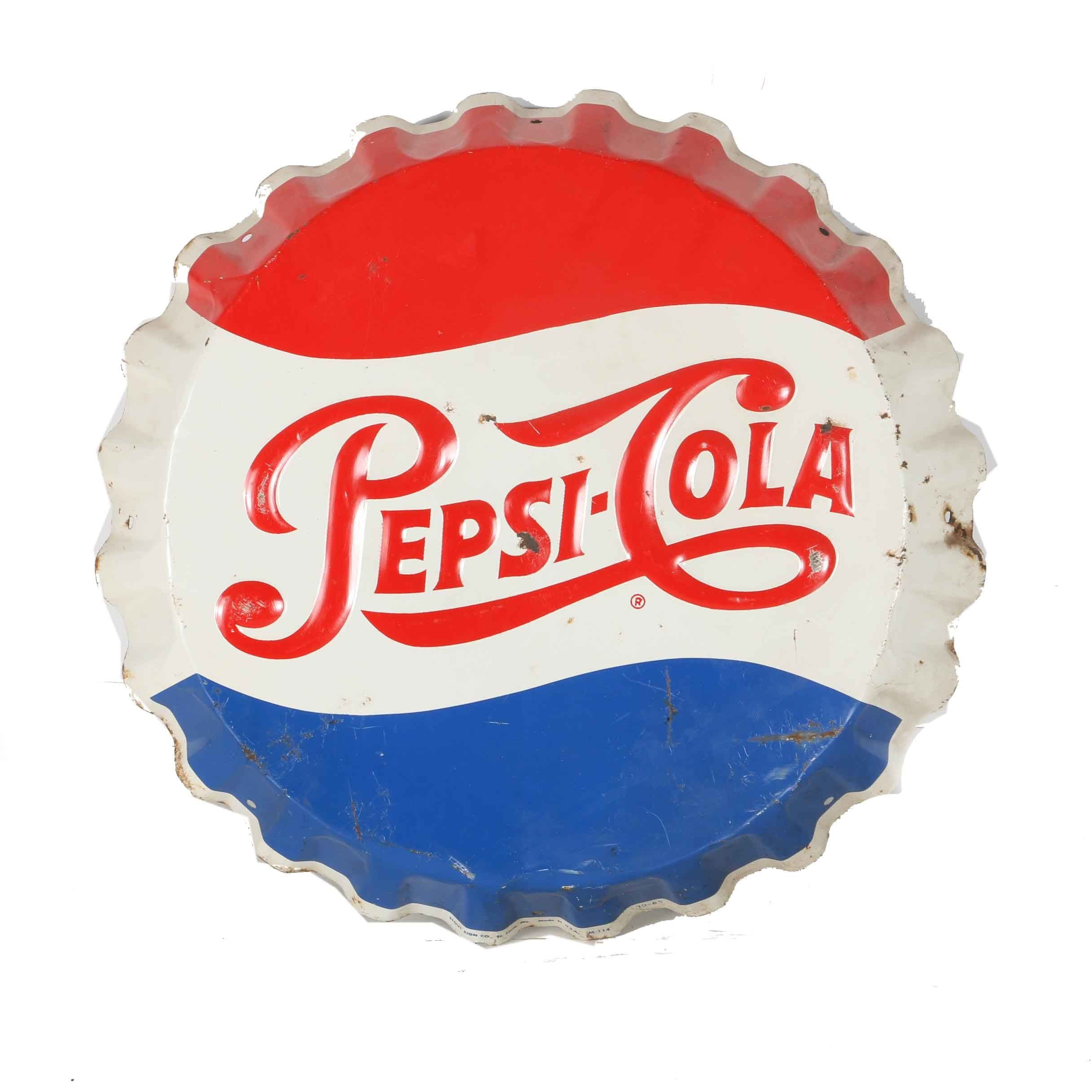 Red White And Blue Auto Sales >> Vintage Pepsi-Cola Bottle Cap Sign : EBTH