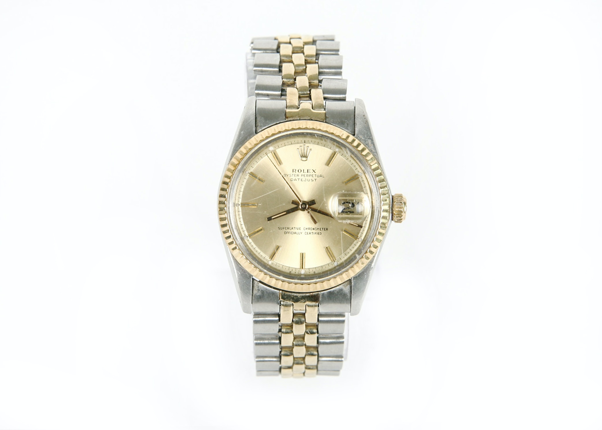 Men's Rolex Oyster Perpetual Datejust 14K Gold Trim Wristwatch