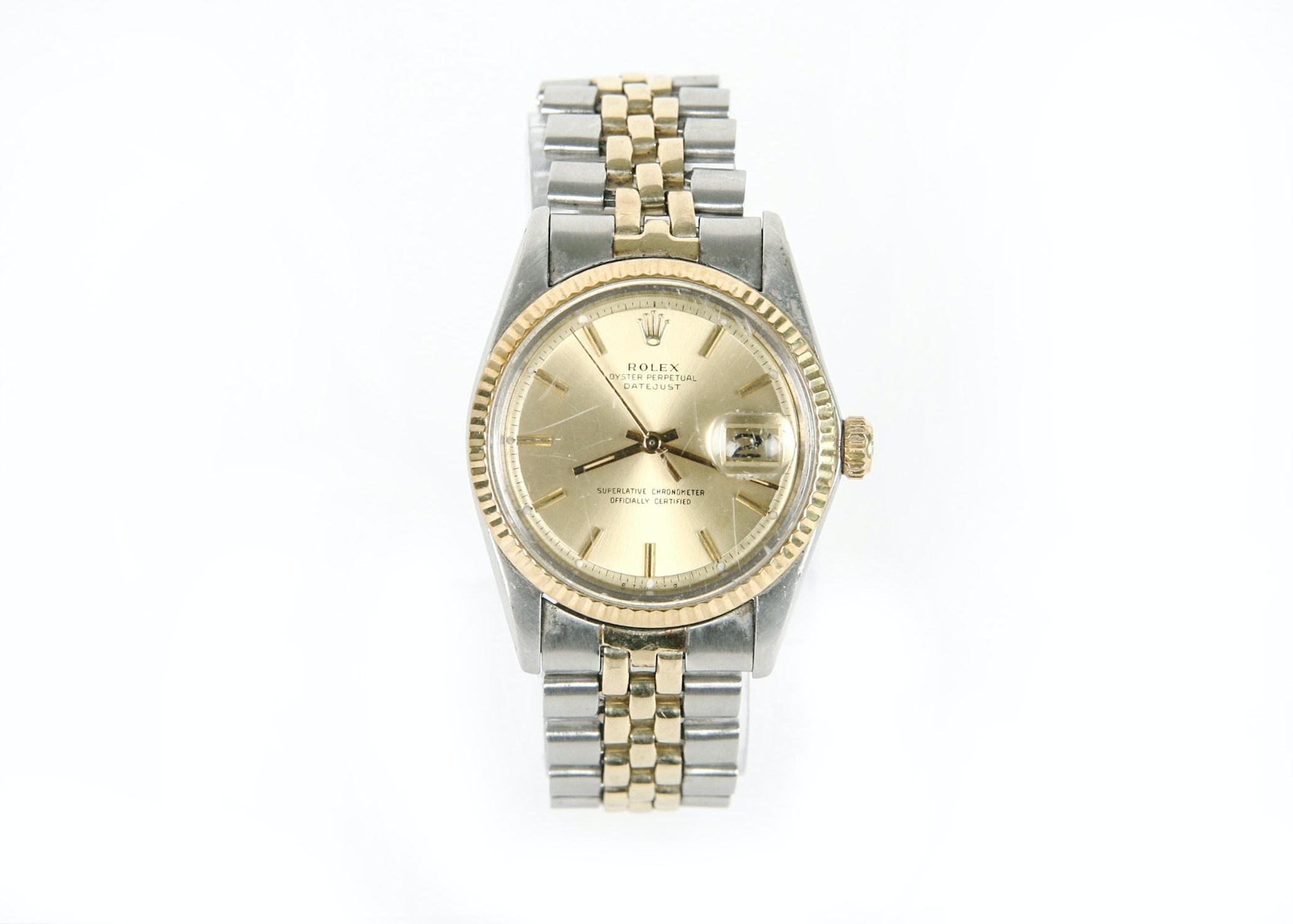 Men's Rolex Oyster Perpetual Datejust 14K Gold Trim Wristwatch