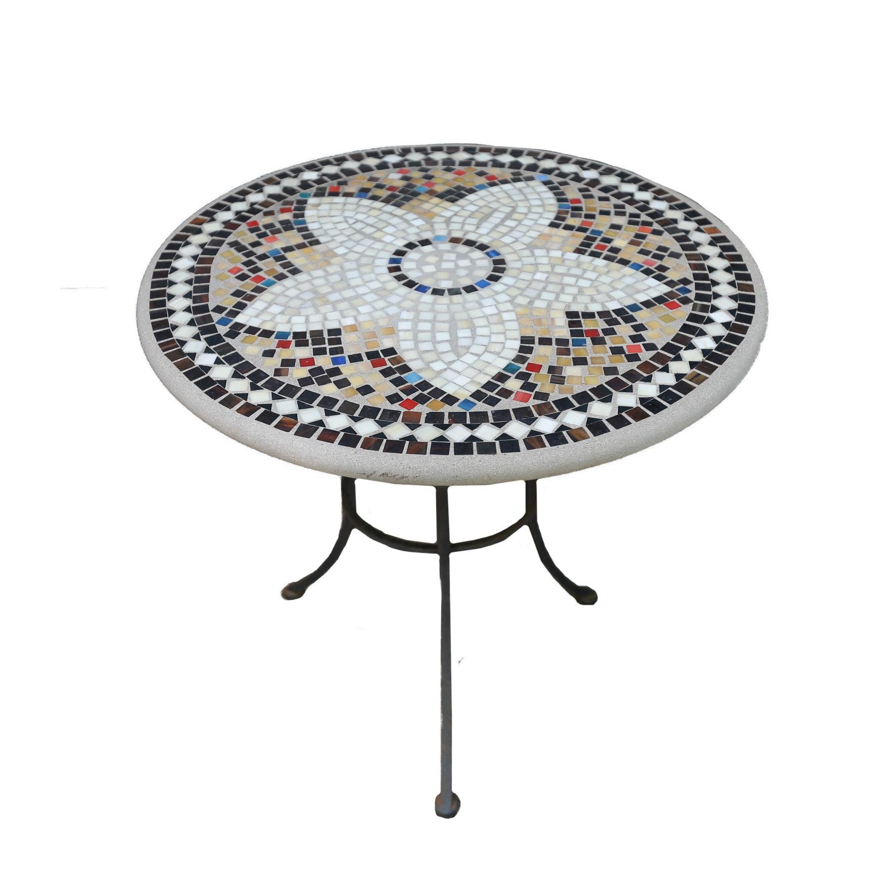 Pair of Concrete Mosaic Tile Tables