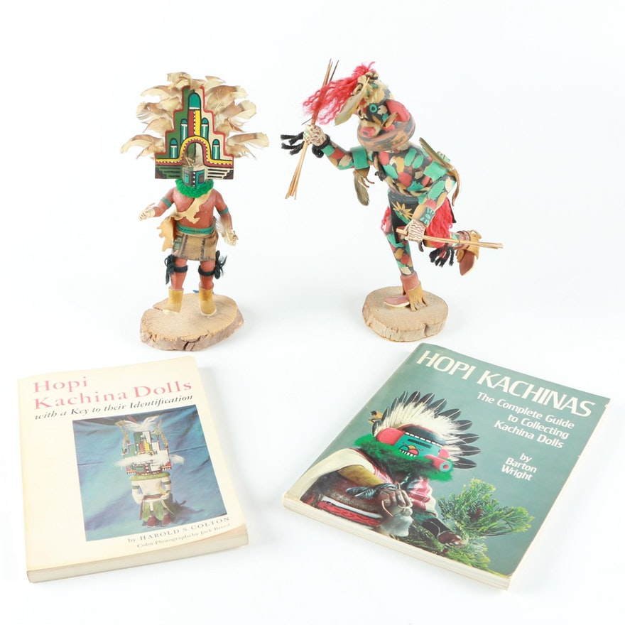 Pair Of Hopi Kachina Dolls And Books Ebth