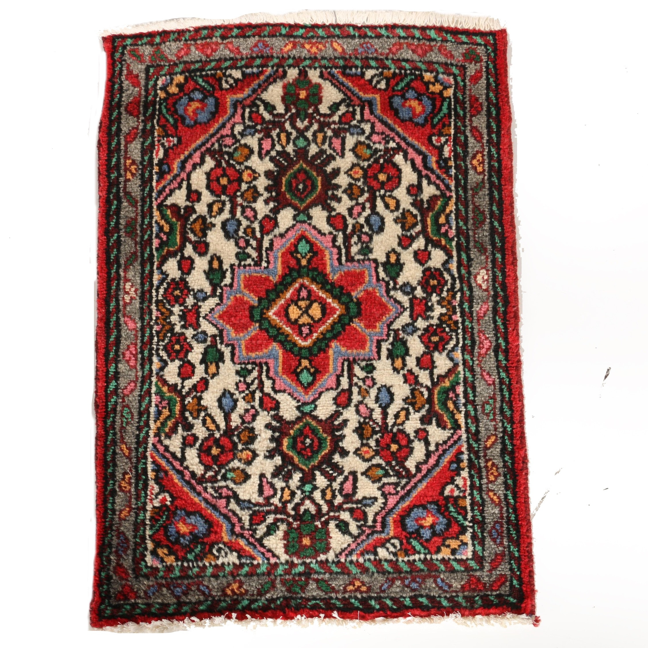 Iranian Hamadan Hand Knotted Wool Accent Rug