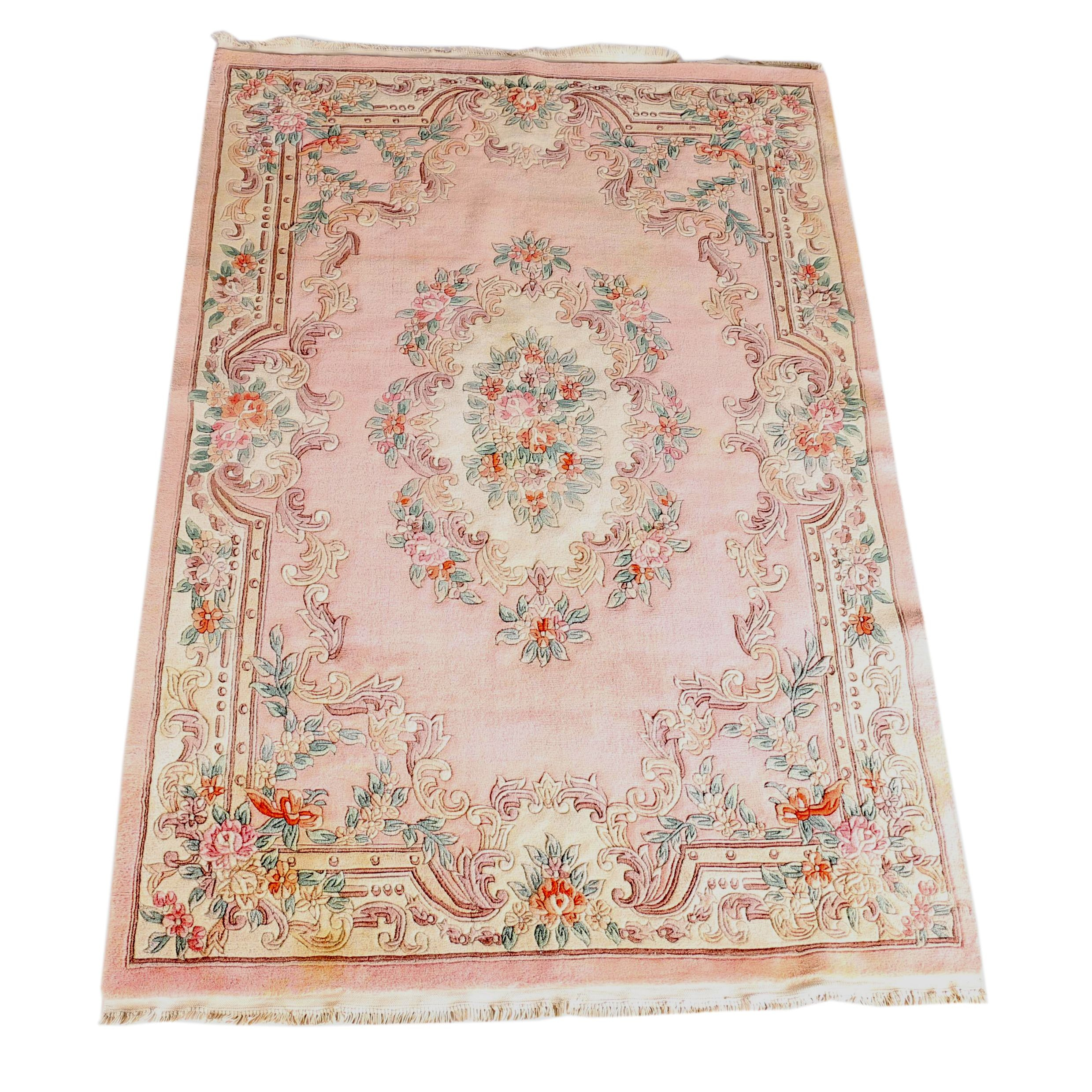 Hand-Knotted Carved Chinese Area Rug