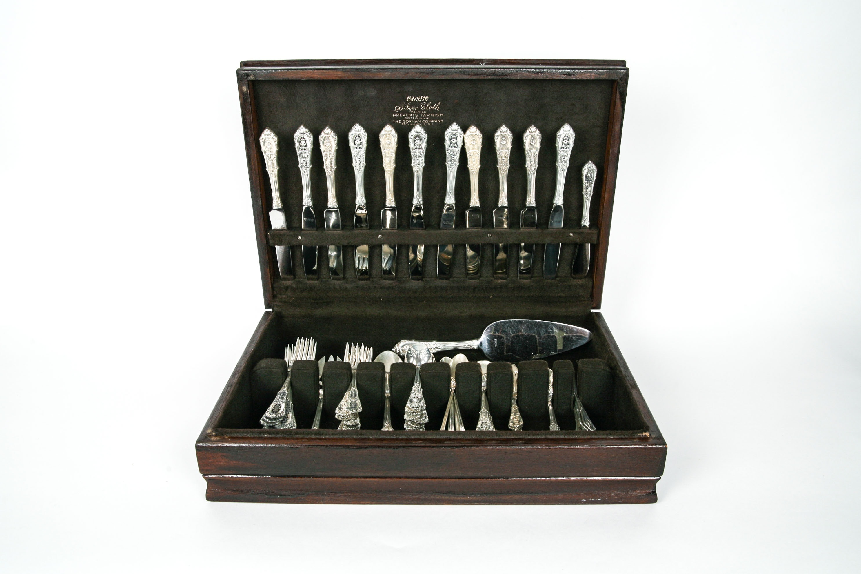 "Set of Wallace Sterling Silver Flatware in ""Rose Point"""