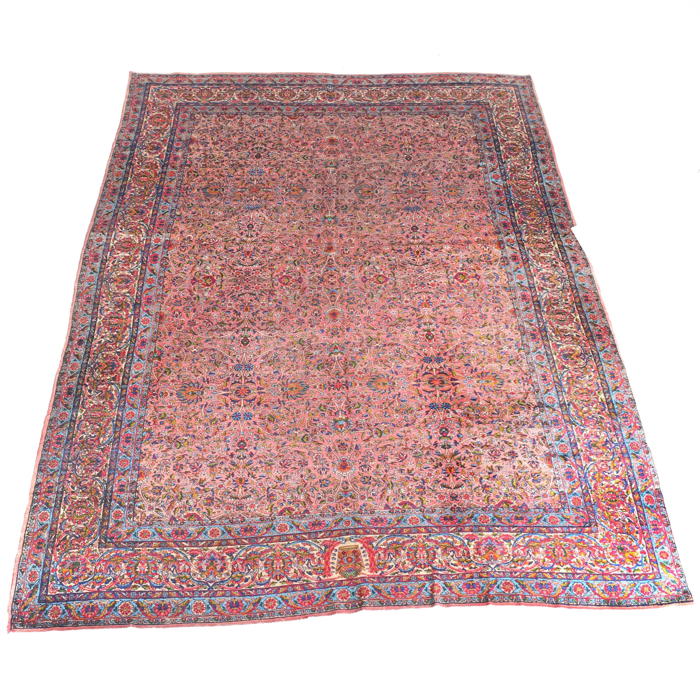 Hand-Knotted Iranian Kerman Area Rug
