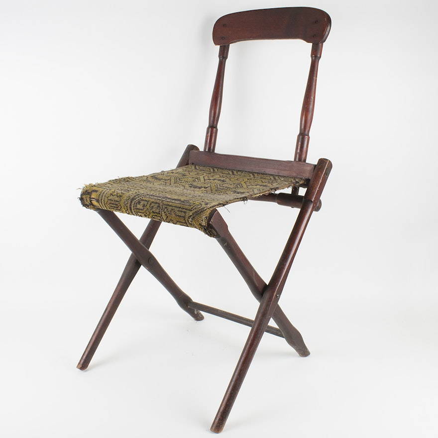 - Antique Folding Chair With Tapestry Seat : EBTH
