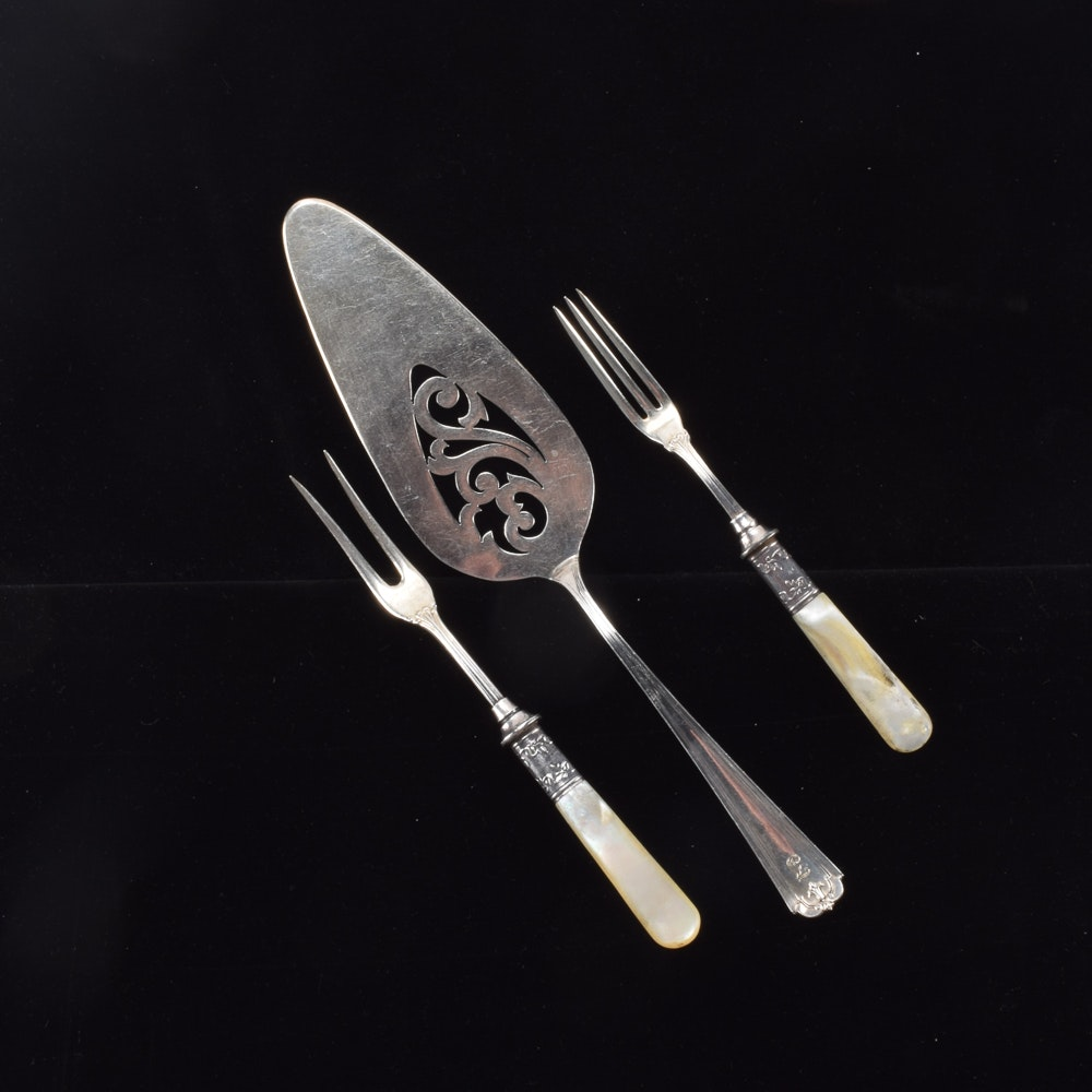Manchester Sterling Silver Cake Server and Two Sterling and Mother of Pearl Handle Specialty Forks