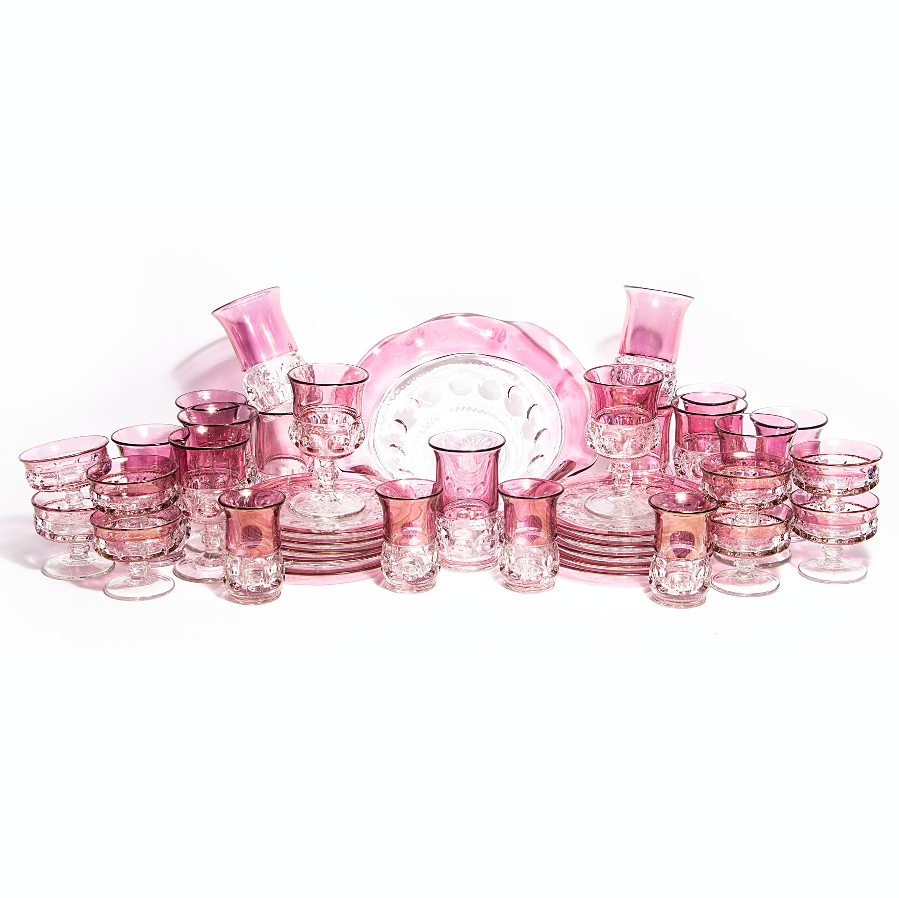 """Tiffin-Franciscan """"King Crown"""" Cranberry Flashed Crystal"""