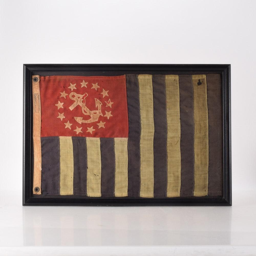 Antique Framed Sterling Bunting Wool Burgee Yacht Club Flag