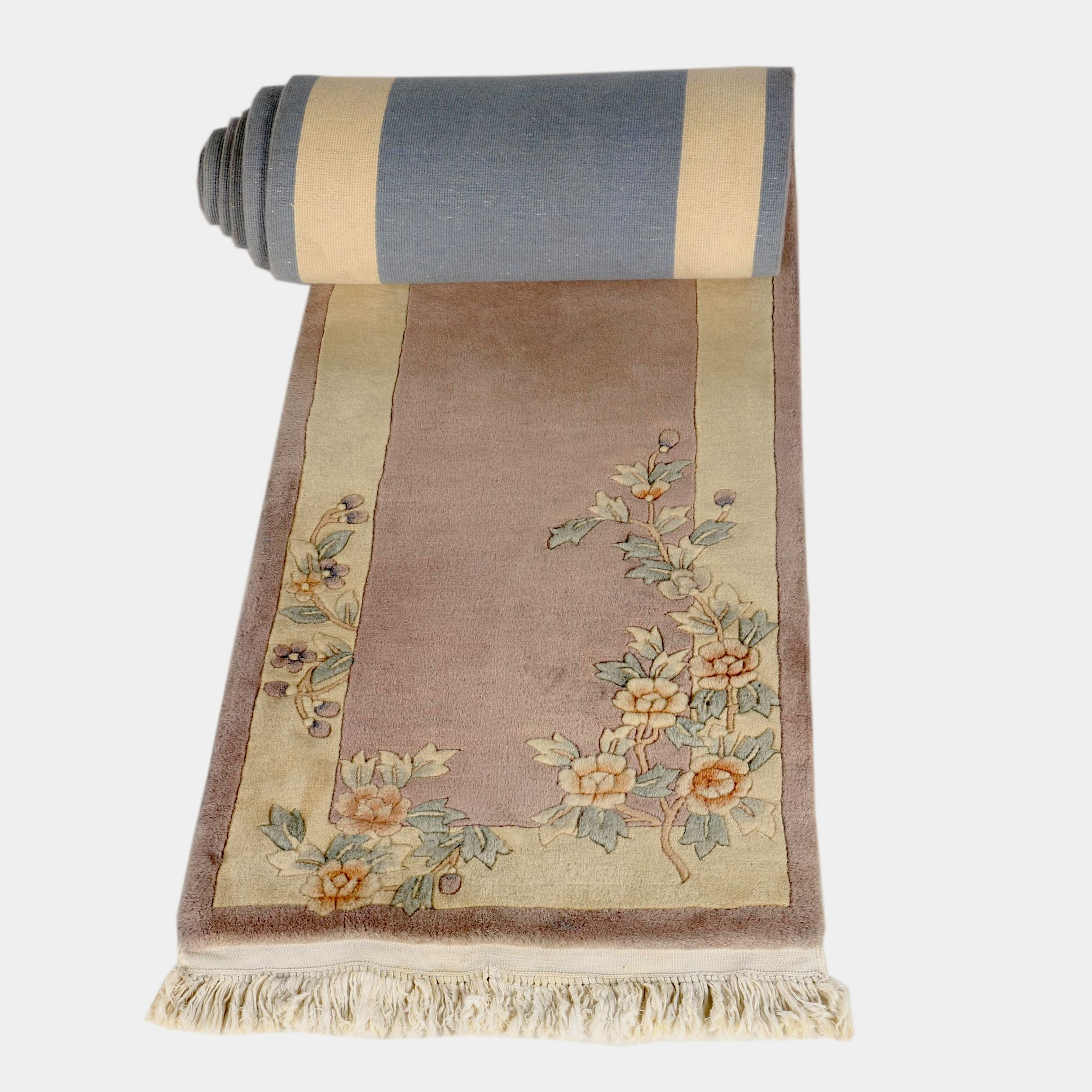 "Power-Loomed ""Aubusson"" Carved Chinese Wool Runner"