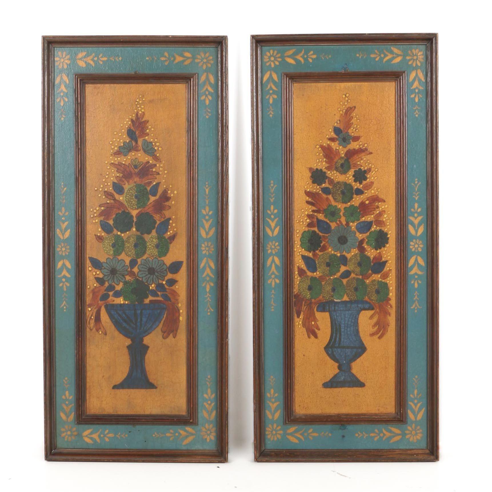 Painted Panels of Floral Arrangements