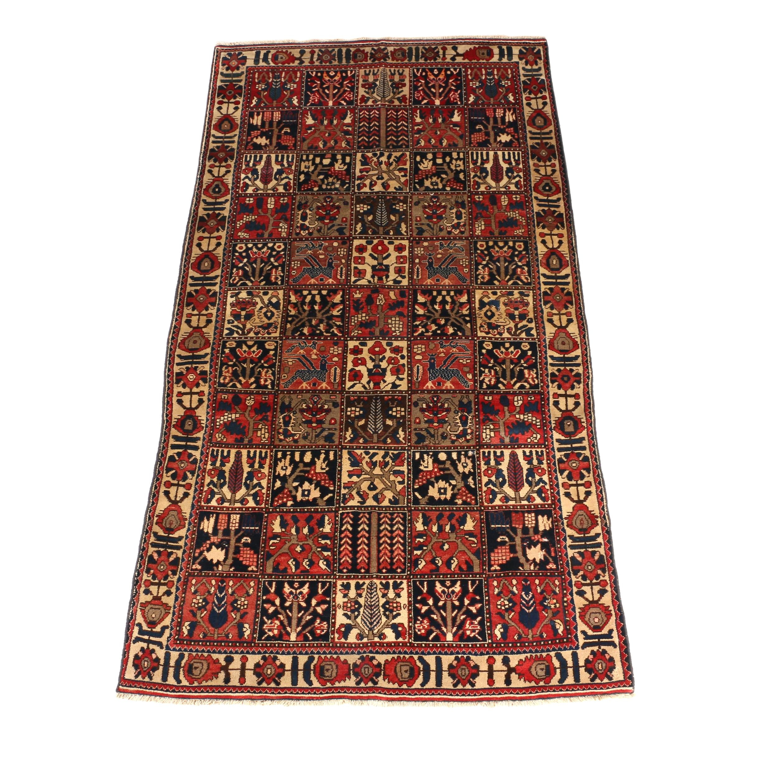Hand-Knotted Iranian Bakhtiari Wool Area Rug