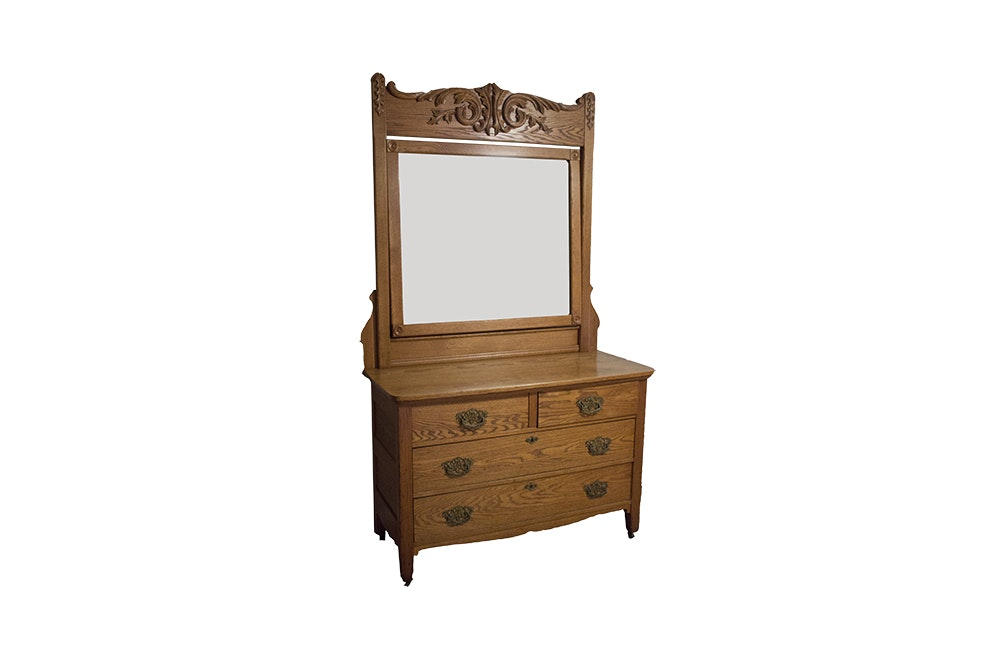 Antique Oak Chest Of Drawers With Mirror Ebth