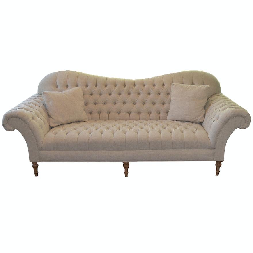 Tufted Club Linen Sofa By Arhaus