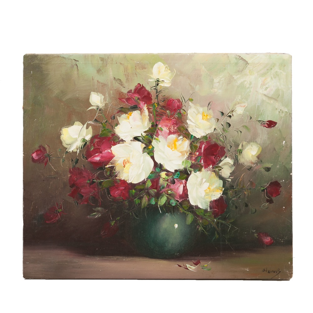 Signed Oil on Canvas Floral Still Life
